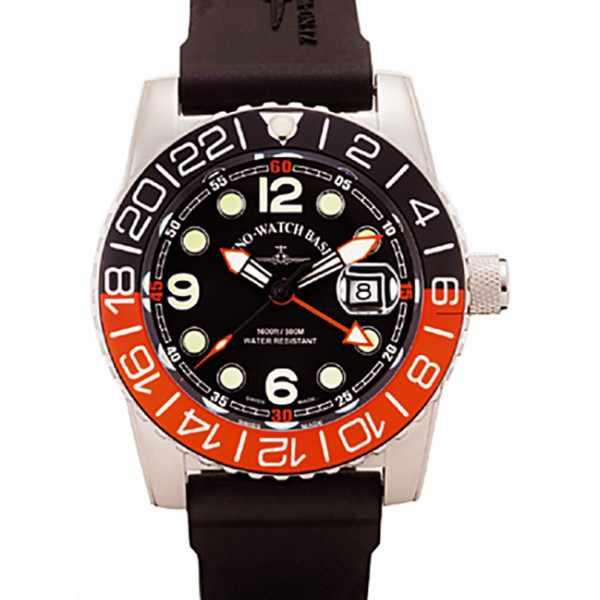 ZENO-WATCH BASEL, Airplane Diver, XL Taucheruhr GMT, orange_15967