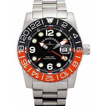 ZENO-WATCH BASEL, Airplane Diver, XL Taucheruhr GMT Quartz, orange MB_15968