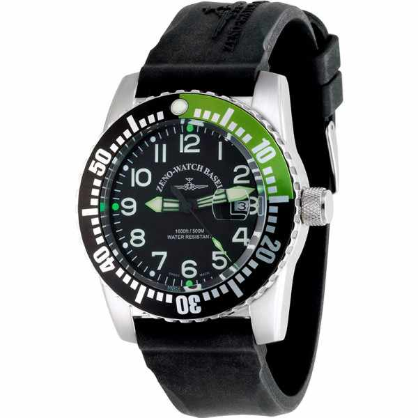ZENO-WATCH BASEL, Airplane Diver, XL Taucheruhr Quartz, Z grün_15984