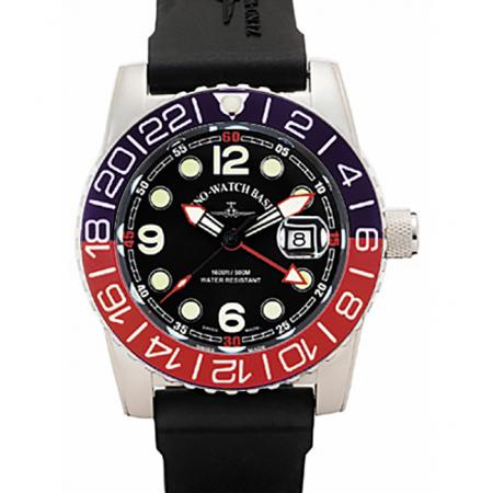 ZENO-WATCH BASEL, Airplane Diver, XL Taucheruhr GMT Quartz, blau/rot