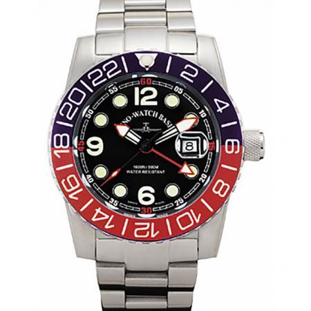 ZENO-WATCH BASEL, Airplane Diver, XL Taucheruhr GMT Quartz, blau/rot MB_15992
