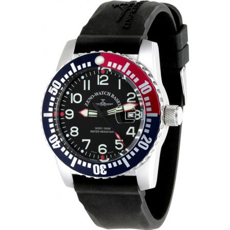 ZENO-WATCH BASEL, Airplane Diver, XL Taucheruhr Quartz, blau-rot