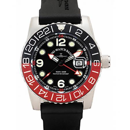 ZENO-WATCH BASEL, Airplane Diver, XL Taucheruhr GMT, schwarz/rot