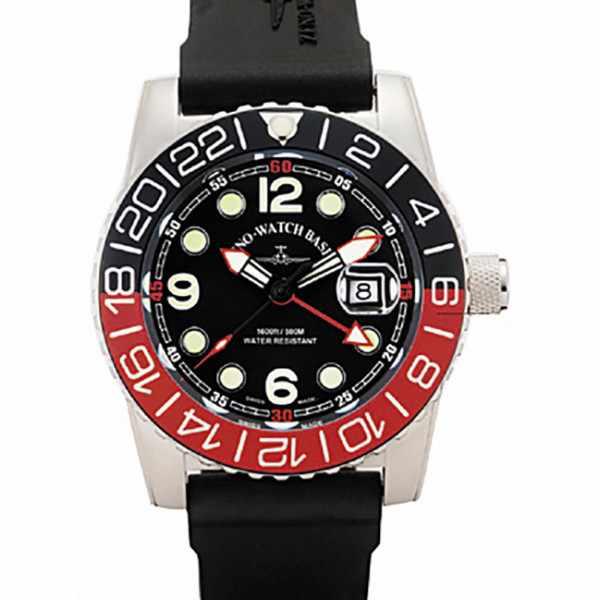 ZENO-WATCH BASEL, Airplane Diver, XL Taucheruhr GMT, schwarz/rot_16018