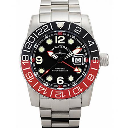 ZENO-WATCH BASEL, Airplane Diver, XL Taucheruhr GMT, schwarz/rot MB