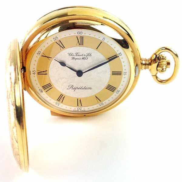 Retro, TISSOT 5 Minuten Repetition Taschenuhr, vergoldet_16109
