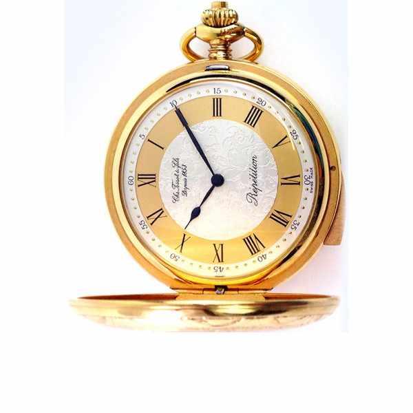 Retro, TISSOT 5 Minuten Repetition Taschenuhr, vergoldet_16111