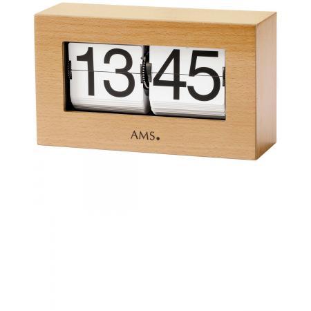 AMS Flip-Clock digital Tischuhr Buche