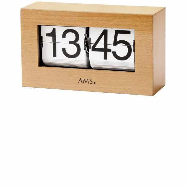 AMS Flip-Clock digital Tischuhr Buche_16131