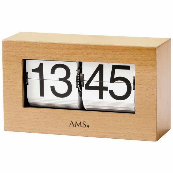 AMS Flip-Clock digital Tischuhr Buche_16132