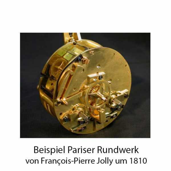 _ANTIK mechanische Empire Tischuhr mit Jäger, ca. 1820_16294