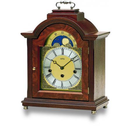 AMS Holz Tischuhr mit Mondphase und Westminsterschlag_16318