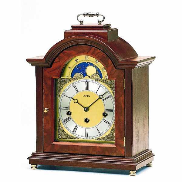 AMS Holz Tischuhr mit Mondphase und Westminsterschlag_16319