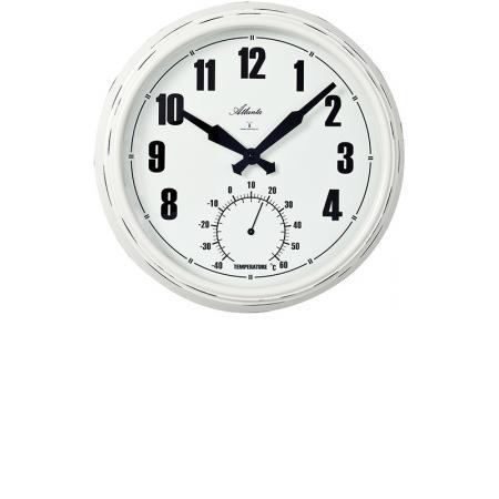 ATLANTA Aussenuhr mit Thermometer, Funkwanduhr weiss_16534