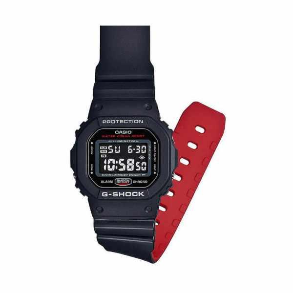 G-SHOCK Retro Blackout, LCD Digitaluhr, schwarz-rot_16745