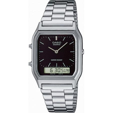 CASIO Digi-Analog Retro, GMT, Quartzuhr, silber schwarz_16911