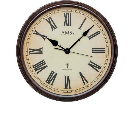 AMS Vintage Look XL Funkwanduhr, Metallgehäuse braun_16961
