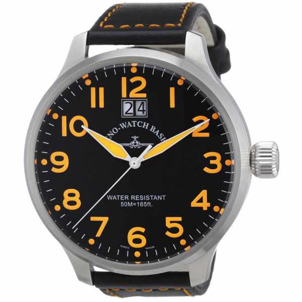 ZENO-WATCH BASEL, Pilot Super Oversized Q, Fliegeruhr, schwarz/orange_1708