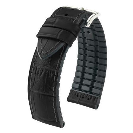 HIRSCH Uhrenband Leder+Kautschuk 22mm, schwarz_17340