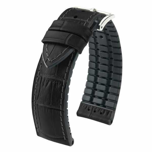 HIRSCH, Uhrenband Leder+Caoutchouc 20mm, schwarz_17348