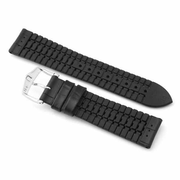 HIRSCH, Uhrenband Leder+Caoutchouc 20mm, schwarz_17350