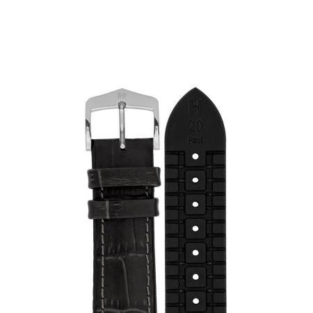 HIRSCH Uhrenband Leder+Kautschuk 20mm, schwarz_17351