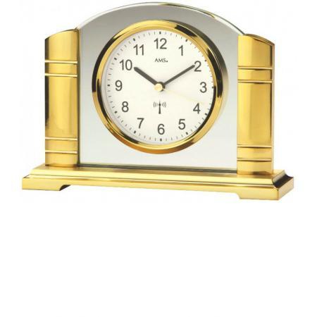 AMS Art Deco Funk Tischuhr gold mit Glaseinsatz_17412