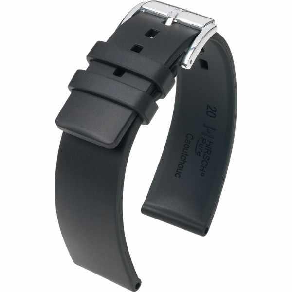 HIRSCH Uhrenband Kautschuk Pure 22mm, schwarz_17598