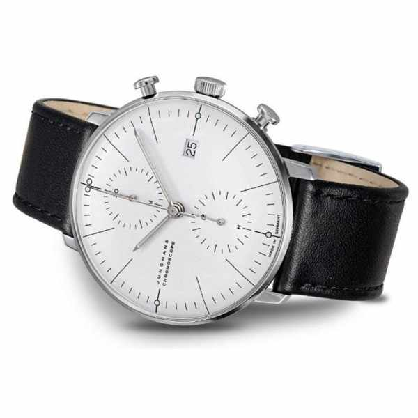Junghans MAX BILL 40 Chronoscope, Automatik Stripes weiss Leder_17816