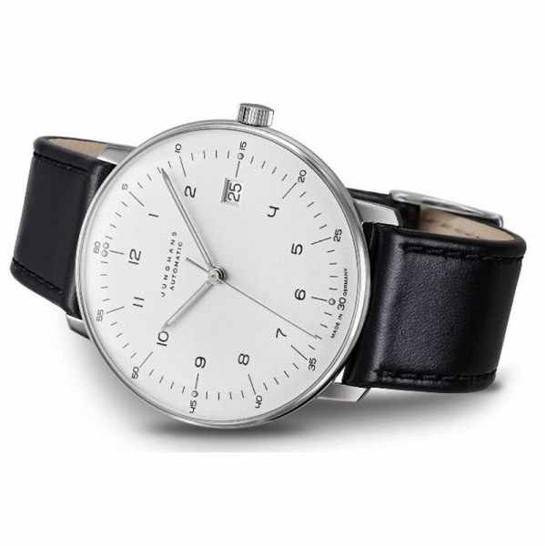 Junghans MAX BILL 38 Automatikuhr, Numbers weiss, Datum, Lederband_17822
