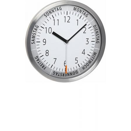 TFA Wochentaguhr Silent Quartz, Wanduhr 30cm_18027