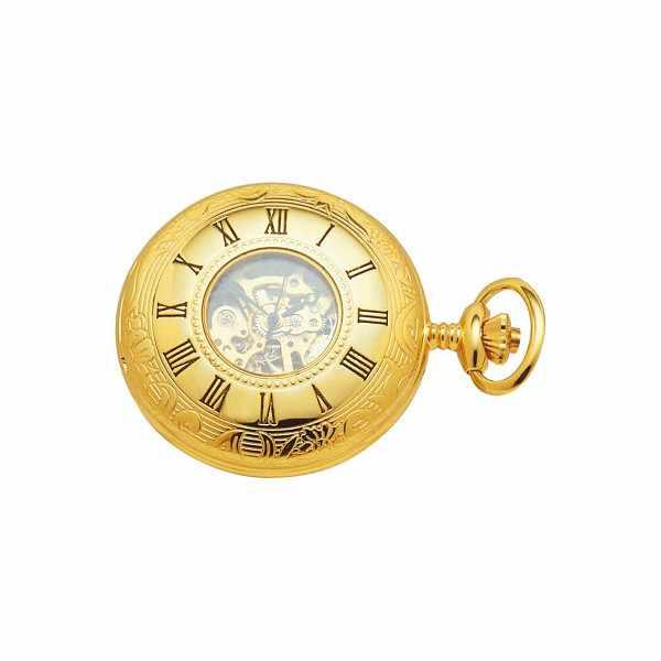 Skelett Taschenuhr Handaufzug, Demisavonnete gold_1823