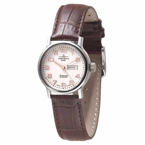 ZENO-WATCH BASEL, Retro Femina, Automatik Uhr, Tag Datum, weiss/rosé_1828
