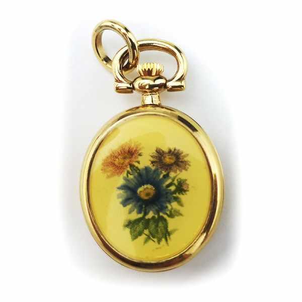 Kleine Anhängeuhr oval mit Blumendekor, vergoldet_18290