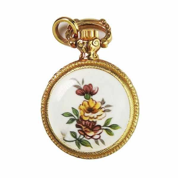 Klassik Anhängeuhr, rund mit Blumendekor, vergoldet_18453