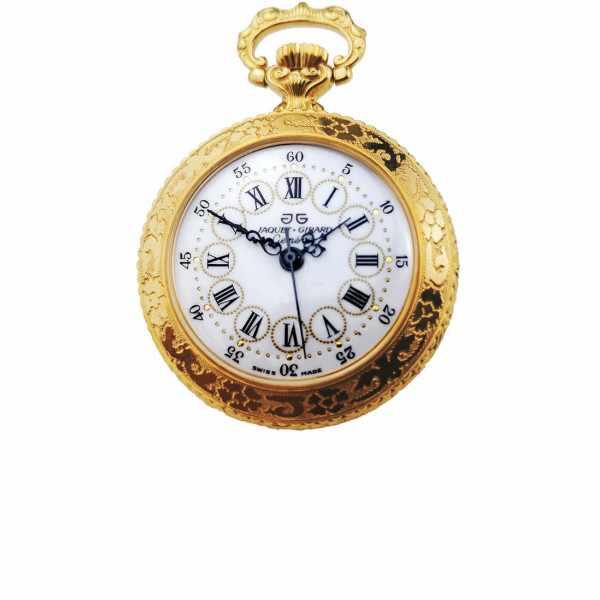 Retro Anhängeuhr, Handaufzug mit römischen Zahlen vergoldet_18455