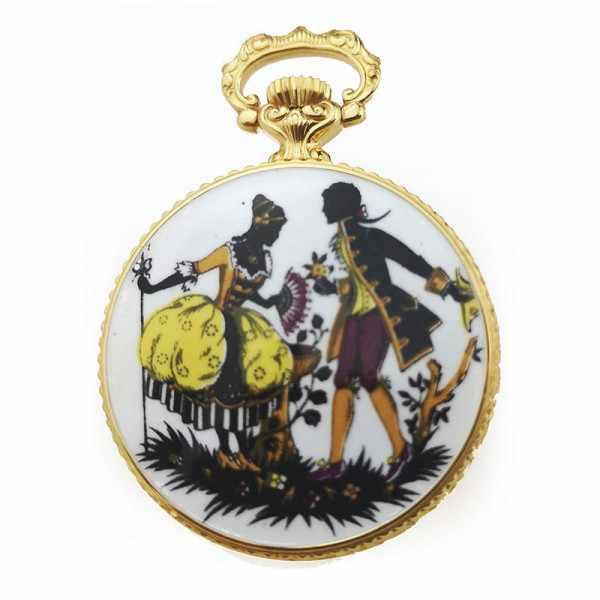 Retro Anhängeuhr Handaufzug mit römischen Zahlen vergoldet_18457