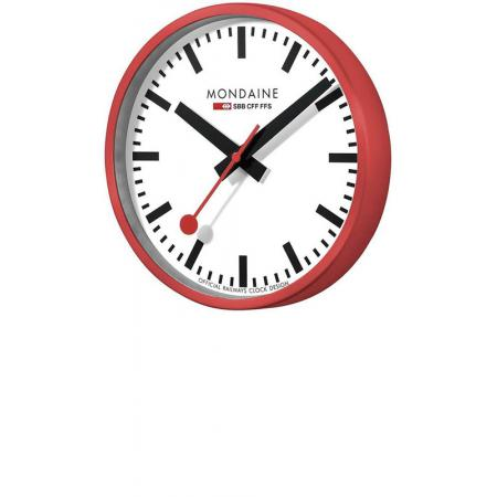 MONDAINE Wall Clock original SBB Bahnhofswanduhr, rot/weiss