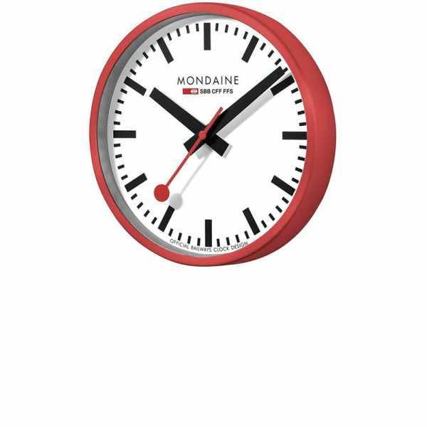 MONDAINE Wall Clock original SBB Bahnhofswanduhr, rot/weiss_18515