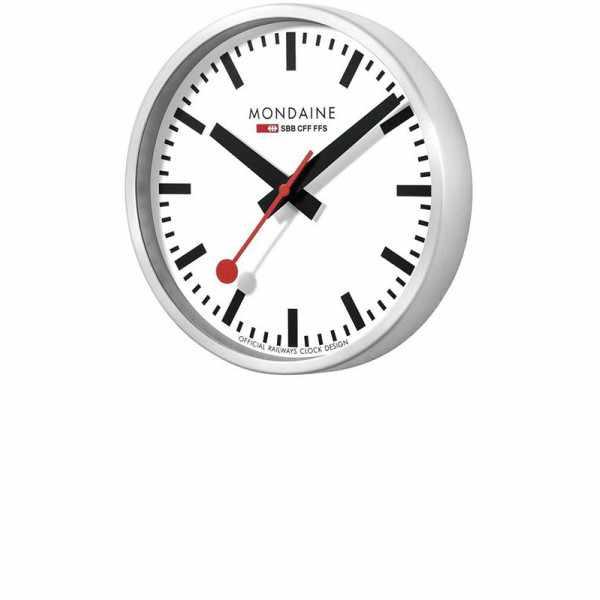 MONDAINE Wall Clock original SBB Bahnhofswanduhr, silber/weiss_18518