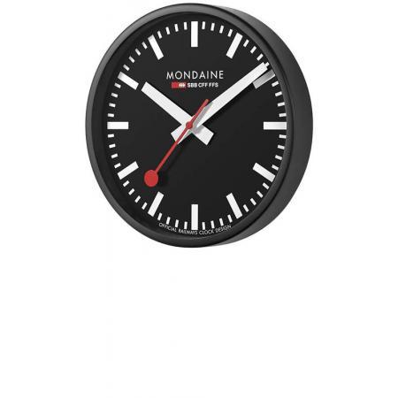 MONDAINE Wall Clock original SBB Bahnhofswanduhr, schwarz