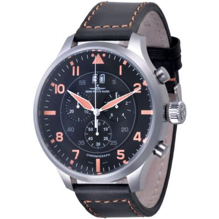 ZENO-WATCH BASEL, Pilot Super Oversized Q, Navi Chrono, schwarz/orange