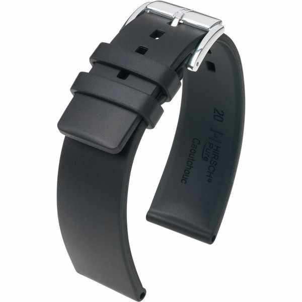 HIRSCH Uhrenband Kautschuk Pure 24mm, schwarz_18899