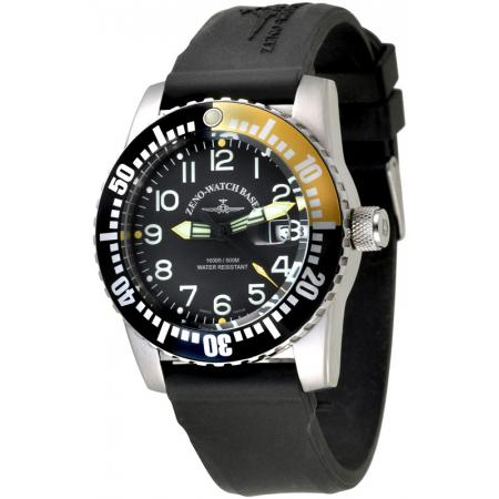 ZENO-WATCH BASEL, Airplane Diver, XL Taucheruhr Quartz, gelb