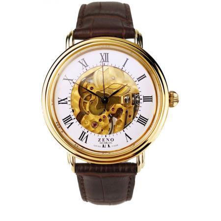 ZENO Skelett Ltd. Handaufzuguhr, vergoldet, Edition 17 weiss