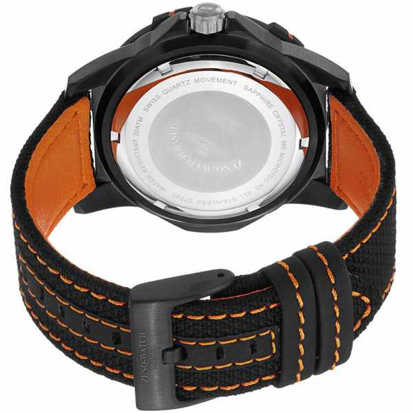 ZENO-WATCH BASEL, H3 Fashion Diver, Lumiuhr, Edelstahl schwarz-orange_1914