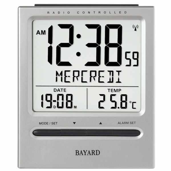 BAYARD LCD Jour, Funkwecker Thermometer + 2 Alarme, grau_19151