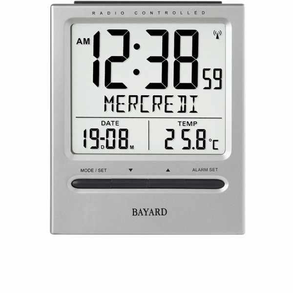BAYARD LCD Jour, Funkwecker Thermometer + 2 Alarme, grau_19152