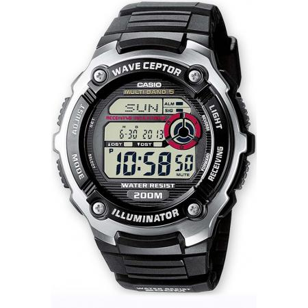 CASIO Digital Funkuhr, LCD Wave Ceptor, schwarz