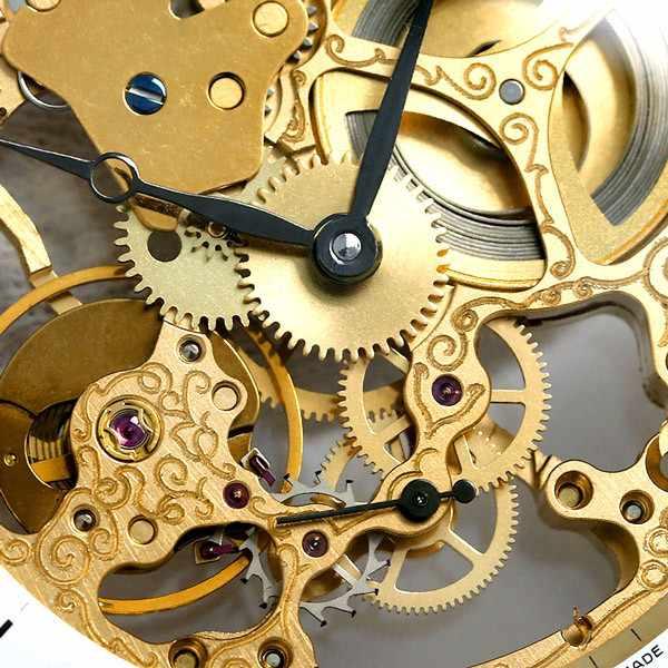 Skelett Taschenuhr Handaufzug, XL gold_19279